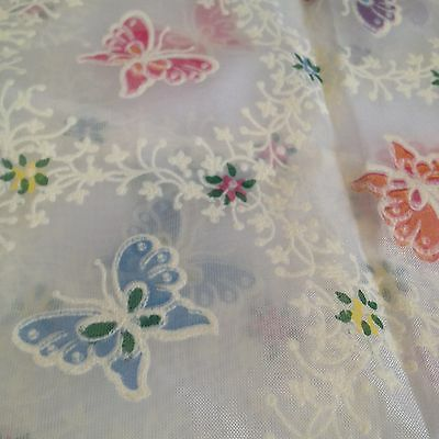 """VTG 30"""" Mid Century Groovy Butterfly Butterflies Sheer Cafe Curtains RV Window"""