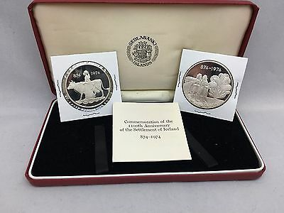 Iceland 1974 Two Silver Proof Coins 1100th Anniversary of settlement of Iceland