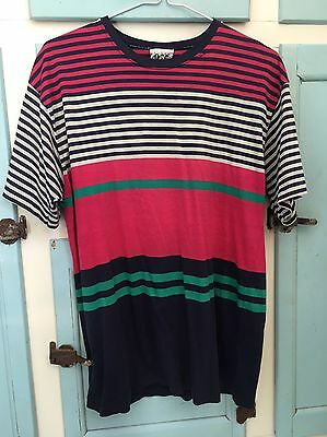 80s 90s Striped Short Sleeved Classic T-shirt Pink, Blue, Green Size 8/10