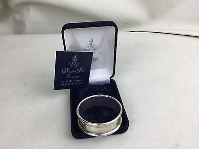 VINTAGE SOLID STERLING SILVER DOUGLAS PELL BOXED BLANK CARTOUCHE NAPKIN RING 15g