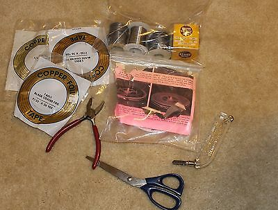 Lot Of Stained Glass  Tools, Copper Tape, Solder, Grozers, Pattern, Glass Cutter