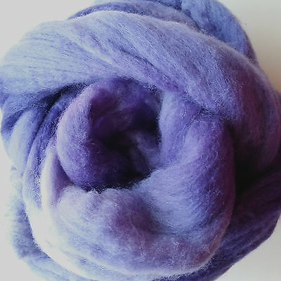 100gm hand dyed soft Merino tops for spinning or felting.  Lilac