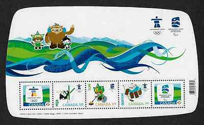 Canada Stamps -Souvenir Sheet of 5 -Olympic Emblems & Mascots #2305 -MNH