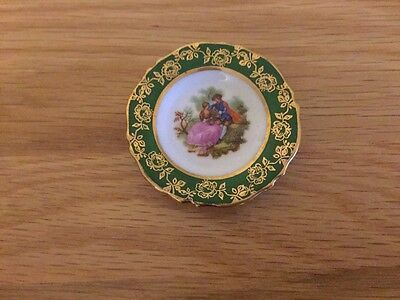 Miniature Limoges France La Reine Green with Gold Border Round Plate 1974