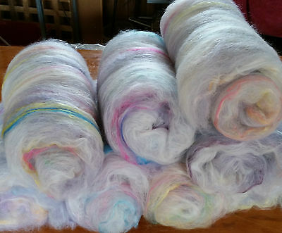 400gm carded Merino wool & silk for spinning or felting in 8 batts. Very soft.