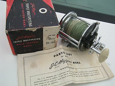 J. C. Higgens No. 2896 Saltwater Fishing Reel With Original Box and Parts List