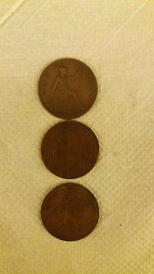 GB coins King George V 1d 1921 1927 1929 One penny coins