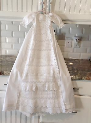 Nice! Antique Victorian Baby Fine Cotton Lace Christening Gown Dress