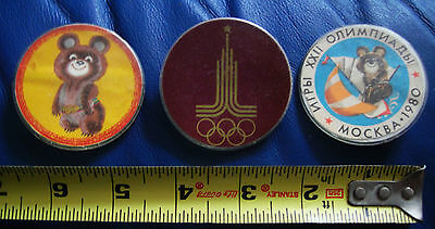 USSR Russian Soviet Olympic Game Moscow Badge Pin Set Bear Symbol 1980 Sport
