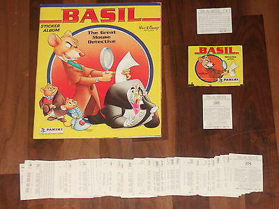 Basil TheGreat Mouse Detective 1988 Panini Complete Empty album all 225 Stickers