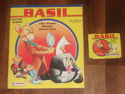 Basil The Great Mouse Detective Complete 1986 Panini Sticker album & sealed Pack