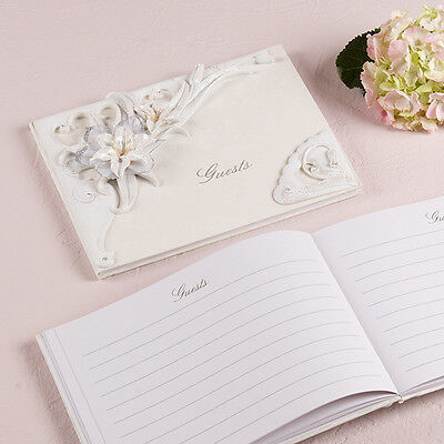 Sculptural White Tiger Lilies Traditional WeddingGuest Book