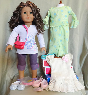 American Girl Doll # 44 Curly Br Hair Hazel Eyes + Extra 2 Outfits & Accessories