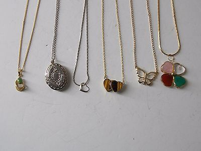 Vintage mixed material fashion necklaces lot  AVON, .925 ,TIGERS EYE, LOCKET
