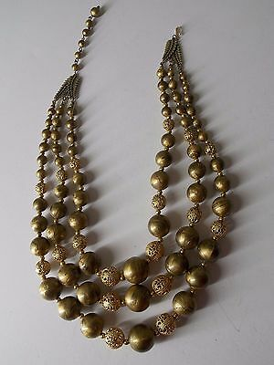 Vintage  gold tone marbled beaded multi strand necklaces    WOW .99 CENTS NR