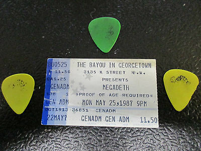 Dave Mustaine guitar picks with Ticket stub