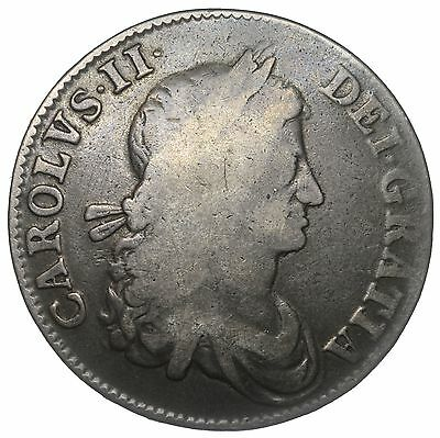 1662 Crown - Charles Ii British Silver Coin - No Rose