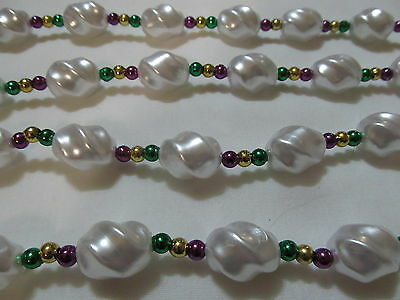 "Hand Strung Pearls With Purple Green and Gold Beads - Mardi Gras Bead 46"" Strand"