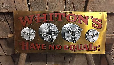 Rare Early 1900's WHITON'S Gear Cutting Equipment New London CT Brass Sign