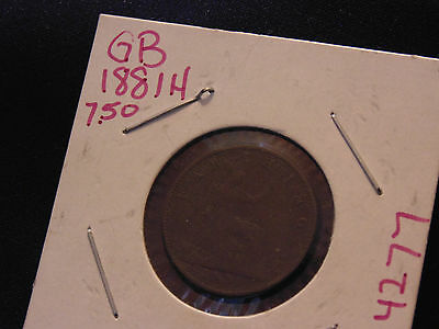 1881 ANTIQUE -- 135 YEARS OLD -- Great Britain World Coin Farthing