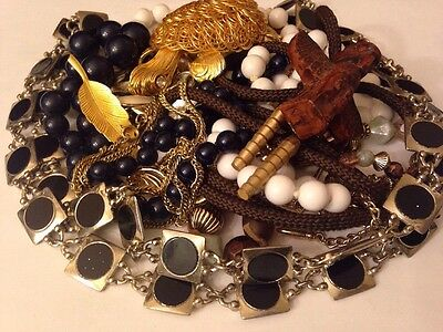 Vintage Mixed Costume Jewelry Lot Necklace Pendant Rhinestone Gold/Silver Tone