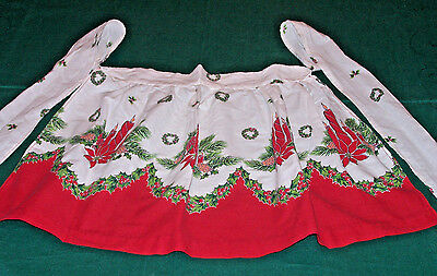 FANTASTIC VINTAGE CHRISTMAS APRON, HOLLY, POINSETTIAS, CANDLES, CLASSIC c1940