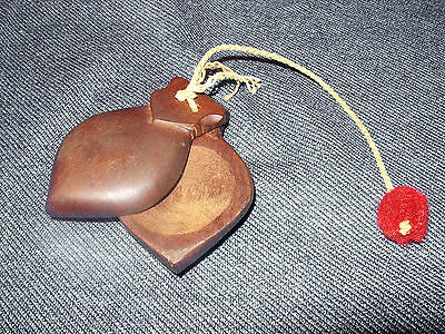VTG Hand Carved Dark Solid Wood Spanish Flamenco Castanets Percussion Instrument