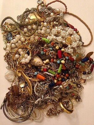 Vintage Mod Costume Jewelry Lot Pounds Unsorted Gold Silver Tone Metals