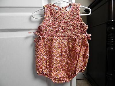 ALL MINE Pink Floral Smocked Bubble Romper SIZE 18M