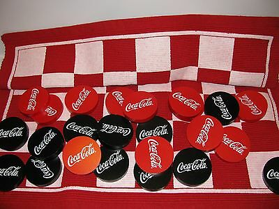 "Rare Coca Cola Checkers Game Set Unused 3 "" Pucks Embroidered Board Htf"
