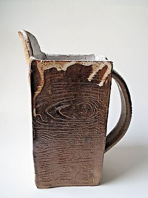 Abstract Handcrafted Art Pottery Wood Glaze Pitcher Brown Jug Square Unique