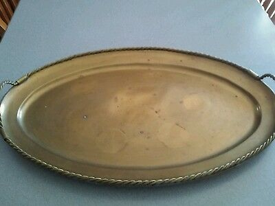 "Vintage 18.5"" x 12"" Oval Brass Serving Tray With Handles"
