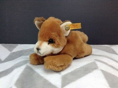 Adorable Steiff Soft Laying Fox Plush Stuffed Animal With Button ID In His Ear
