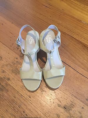New Wittner Nude Patent Leather Wedge Heels Size 37
