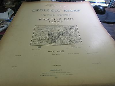 ANTIQUE - GEOLOGICAL ATLAS OF THE U.S. - McMINNVILLE TENNESSEE  FOLIO  - 1895