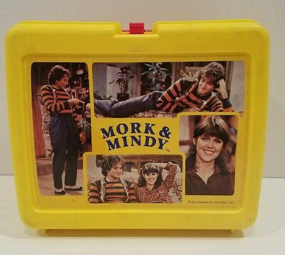 Vintage Mork And Mindy 1979 Yellow Plastic Lunchbox - No Thermos