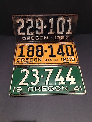 Oregon Car License Plate Lot (3) collectible USA Vintage