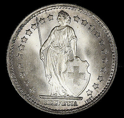Switzerland 1 Franc, 1952 Silver Coin Lustrous VERY Frosty Surface