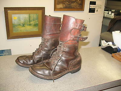 A Pair Of WWII U.S.Army Combat Boots Double Buckle Size 9D Marked HU, Sole HST