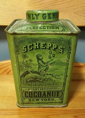 Antique Schepp's Cocoanut Tin Litho Baking Green Black Can Neat Monkey Graphic!