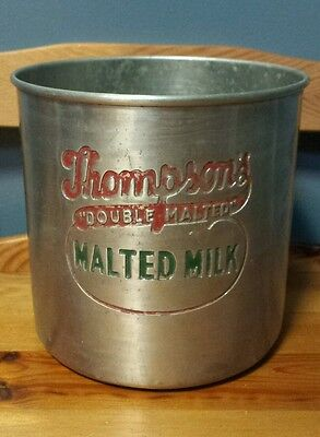 Rare Vintage Thompson's Double Malted Milk Embossed Tin Clark Summit Pa Dairy