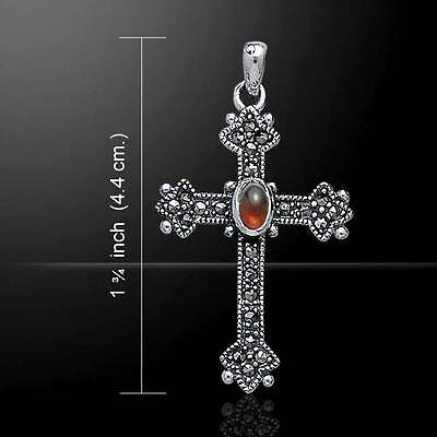 Medieval Celtic Marcasite Cross .925 Sterling Silver Pendant by Peter Stone