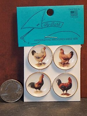 Dollhouse Miniature Plate Chickens Rooster A by Barb 1:12 inch scale A26