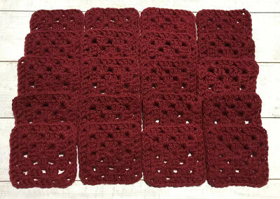 "20 4"" BURGUNDY Hand Crocheted GRANNY SQUARES Afghan Yarn Blanket Blocks CLARET"