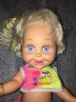 "1990 Lewis Galoob Toys Baby Face #8 Delightful Dee Dee Doll 13"" Original Outfit"