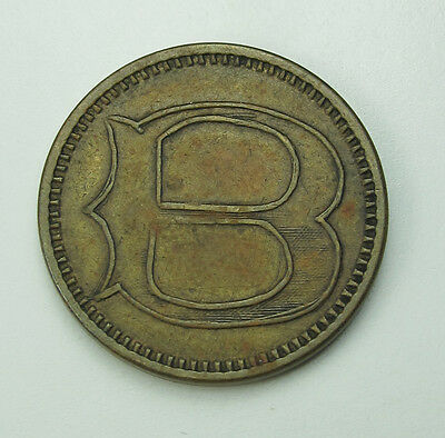 Vintage Antique Old Good for Nickel in Trade Token Large B Nice Unique Coin