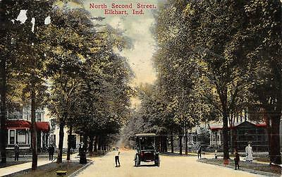 ELKHART, IN  Indiana   NORTH SECOND STREET SCENE-Residential  Car  1912 Postcard