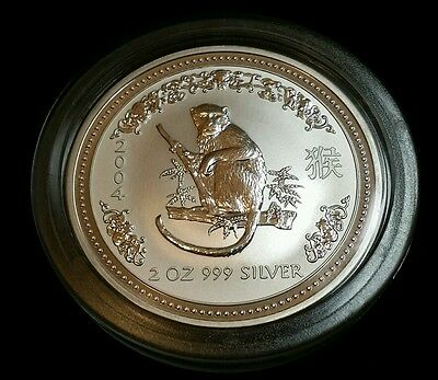 2004 Australia Lunar Year of the Monkey 2 oz .999 Fine Silver Coin Free S/H!