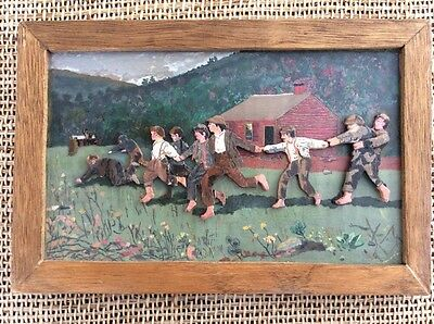 Snap the Whip Folk Art Carved Cut Out Framed Painting