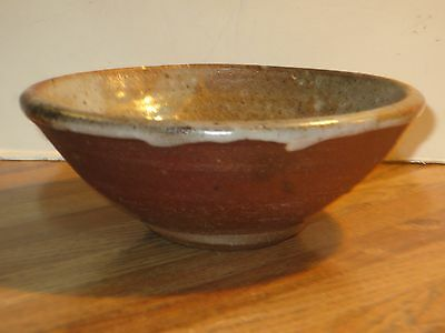 Vintage Featherstone Wood Fired Studio Pottery Bowl With Shino Glaze, Marked